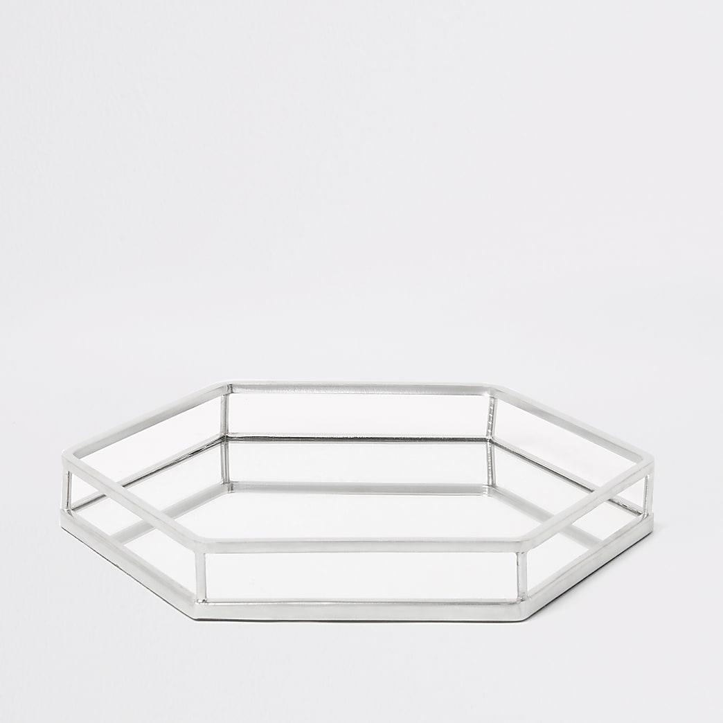 Silver hexagonal mirrored tray