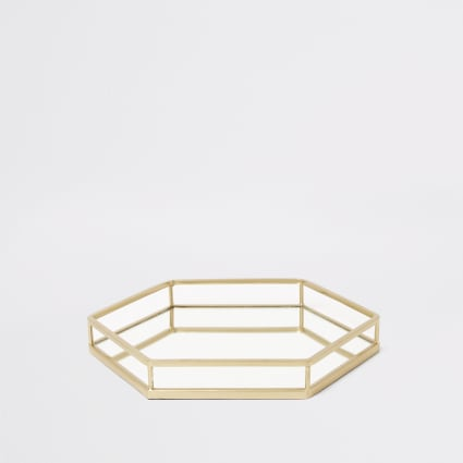 Gold hexagonal mirrored tray