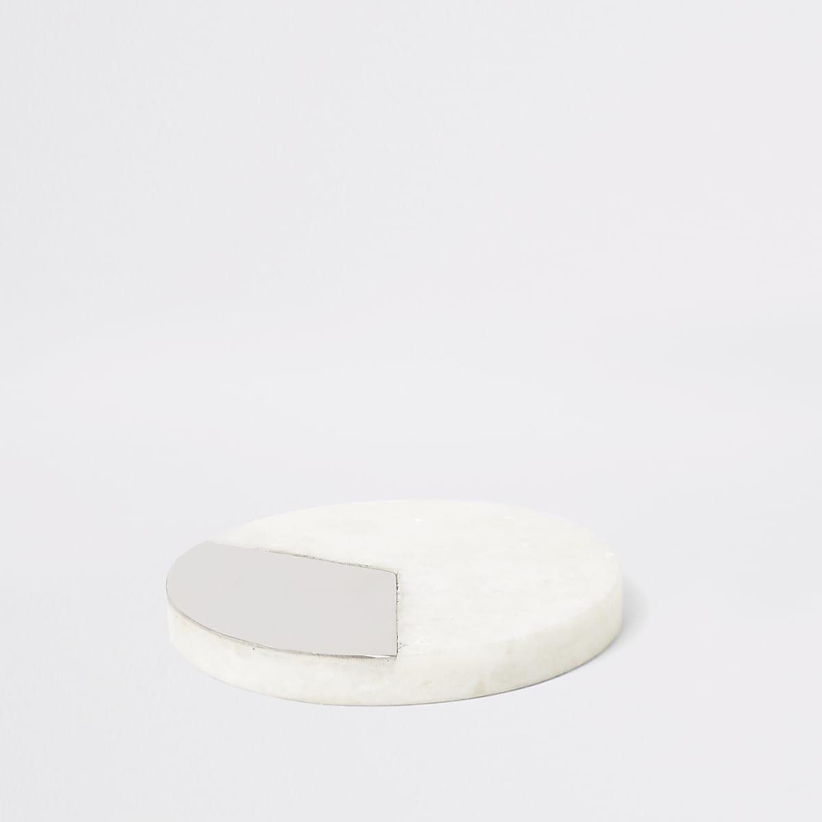Zilverkleurige ronde onderzetter met marmer