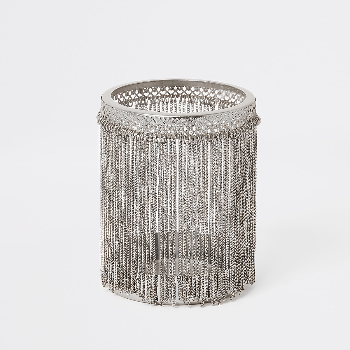 Zilverkleurige kaarsenhouder met kwastjes