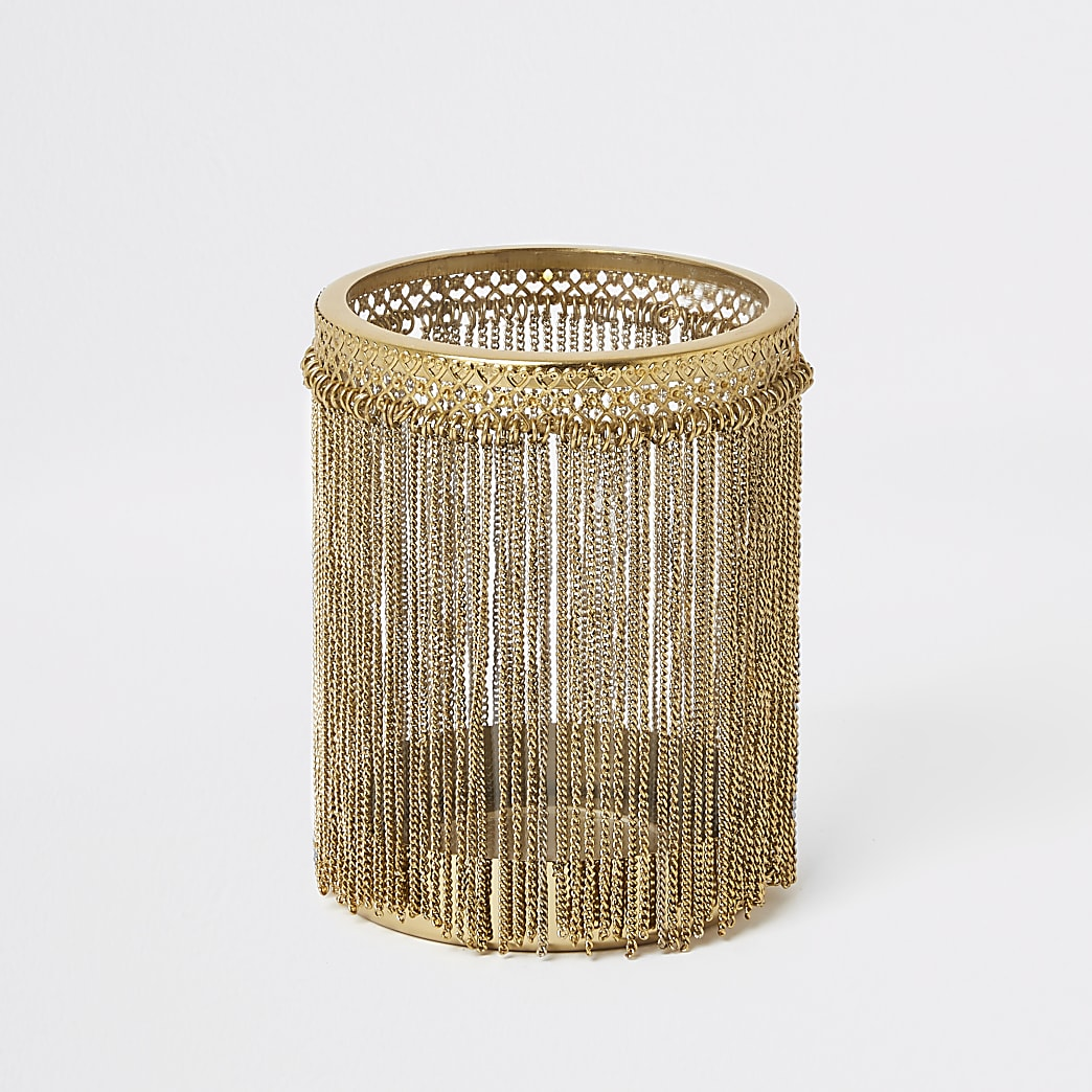 Gold chain tassel candle holder