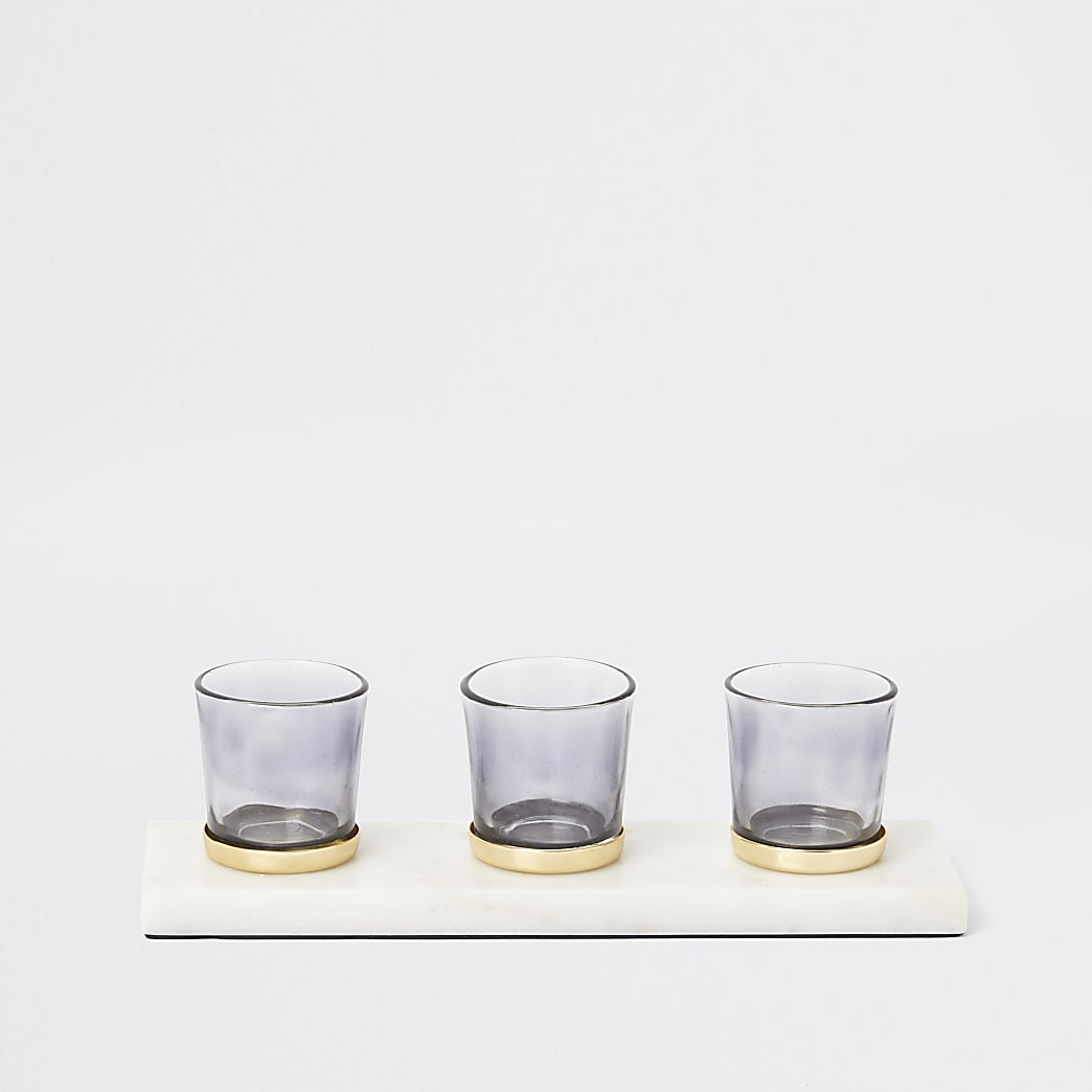 White marble tealight candle holder set