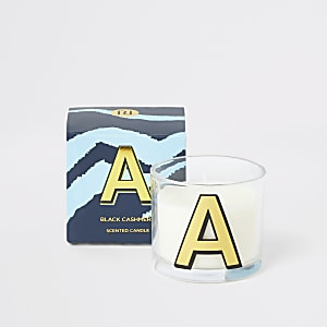 Blue printed 'A' black cashmere candle