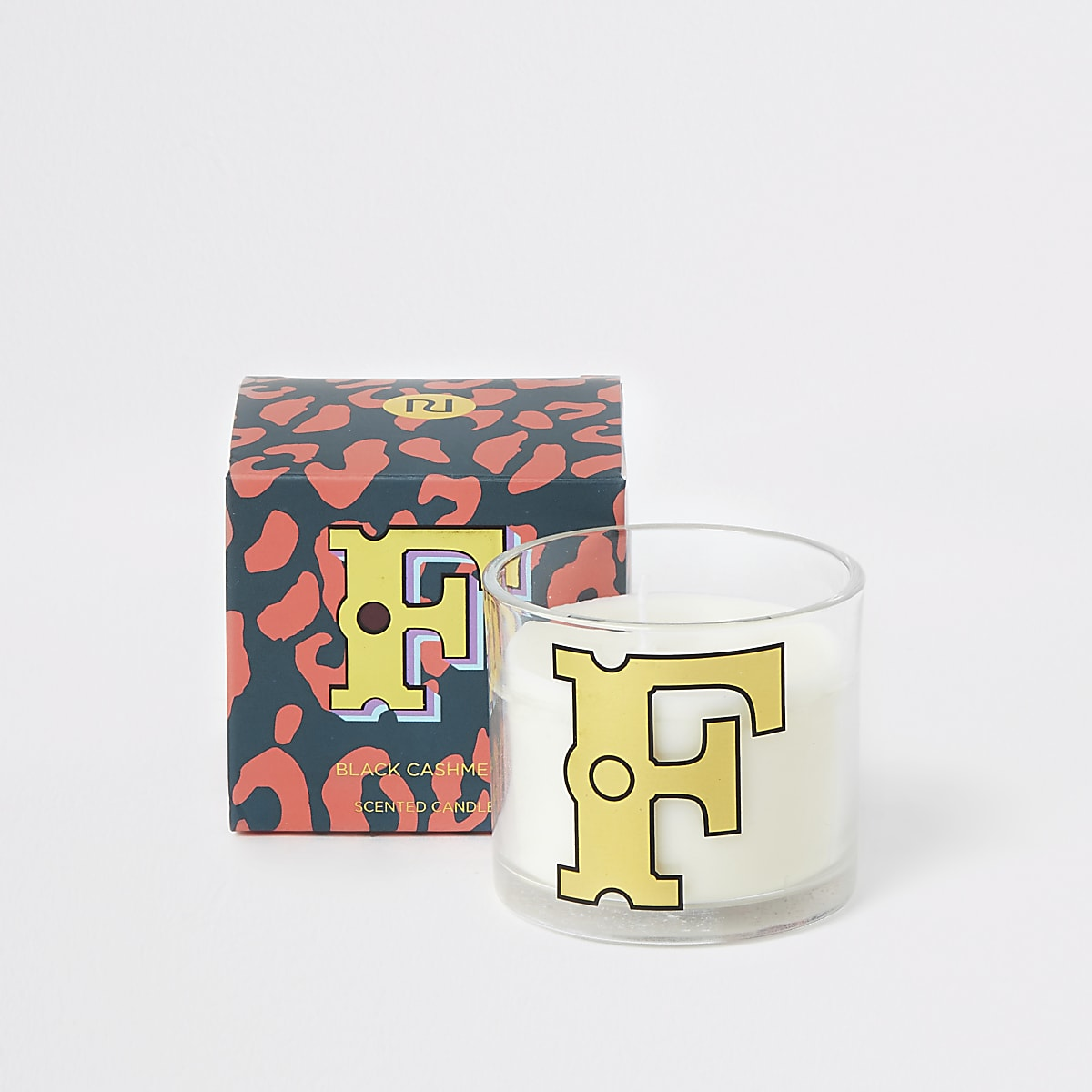 Orange printed 'F' black cashmere candle