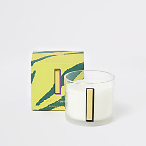 Yellow printed 'I' black cashmere candle