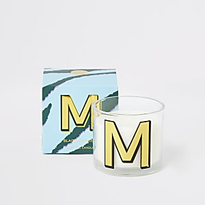 Blue printed 'M' black cashmere candle
