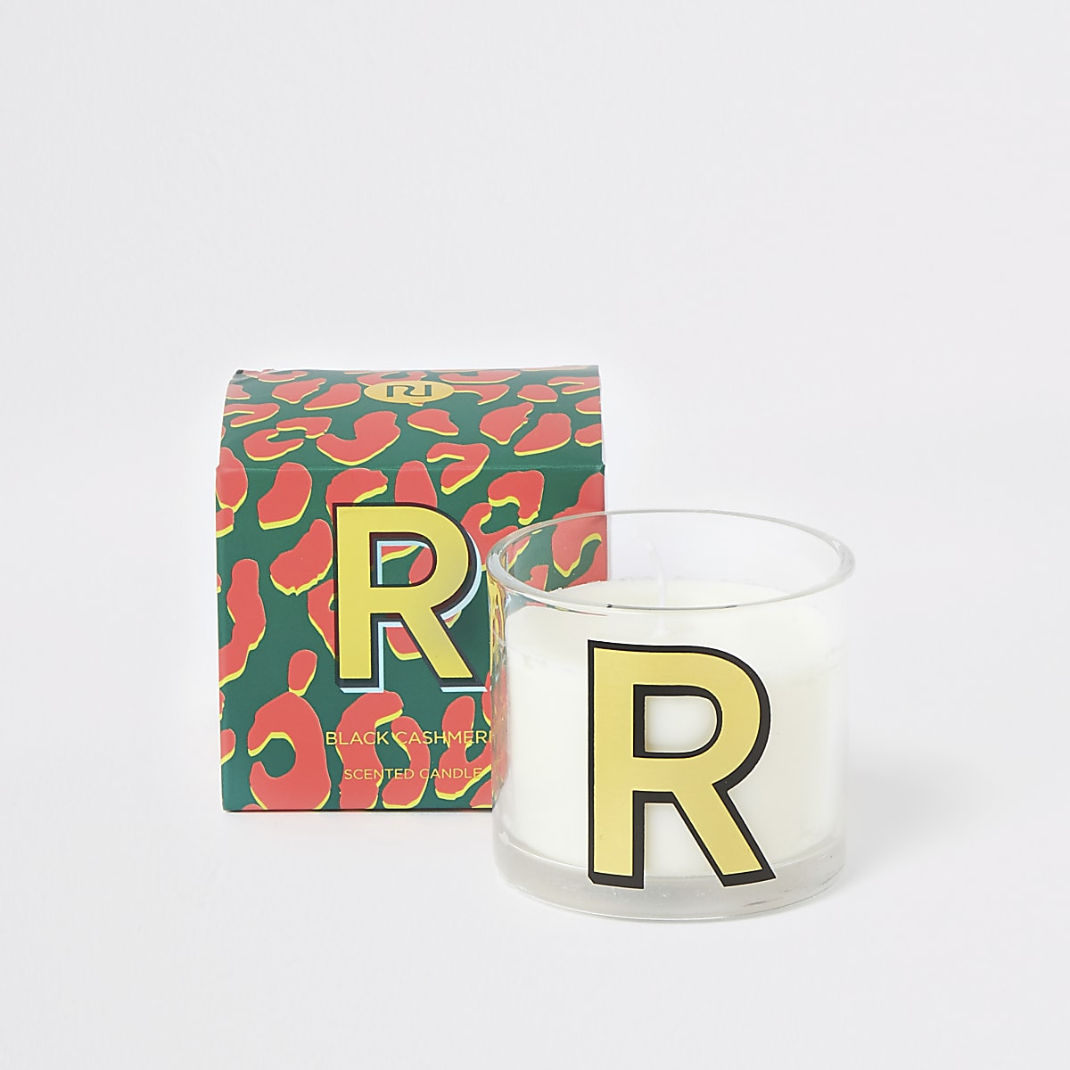 Red printed 'R' black cashmere candle