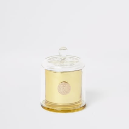 Gold mini jasmine and amber cloche candle