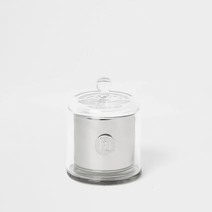 Silver mini jasmine and amber cloche candle