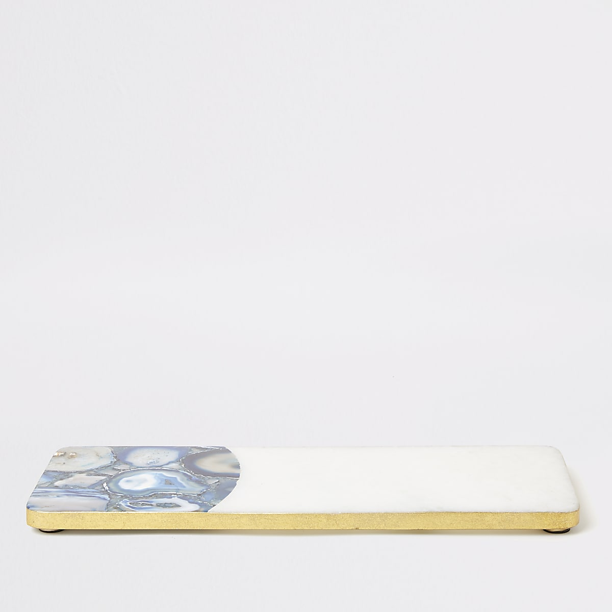 Blue marble and agate rectangle tray
