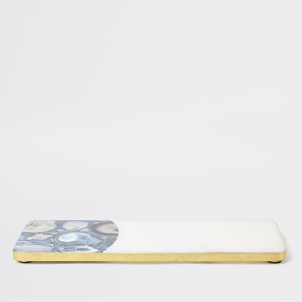 Plateau rectangulaire bleu en marbre et agate