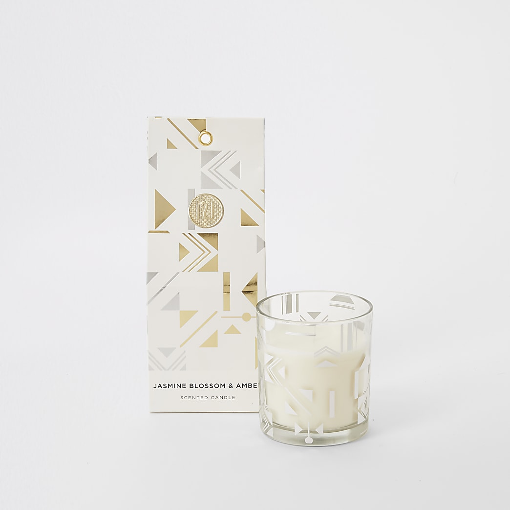 Silver jasmine & amber scented candle