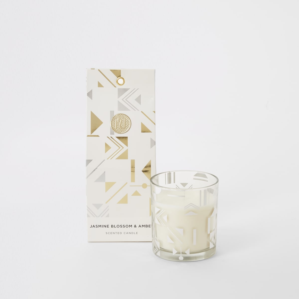 Zilverkleurige geurkaars jasmine en amber