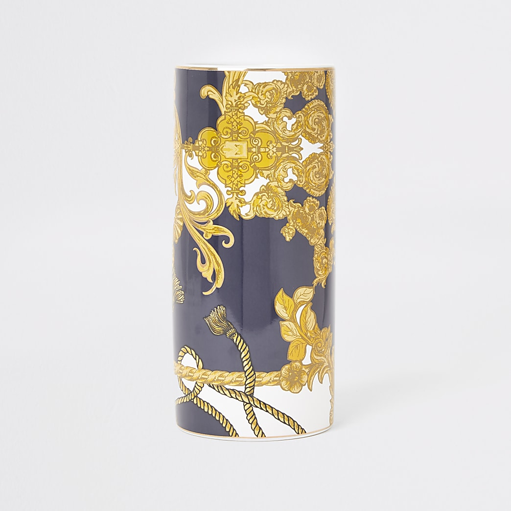 Vase orné bleu baroque