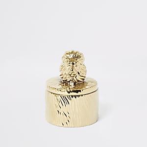 Gold textured lion trinket box