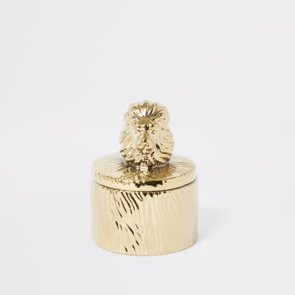 Gold textured lion trinket box