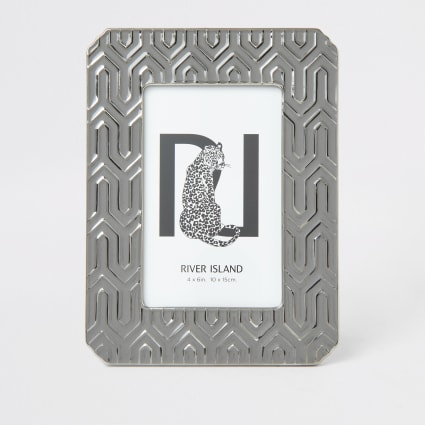 Silver aztec embossed photo frame