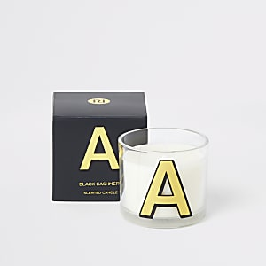 Navy 'A' alphabet black cashmere candle