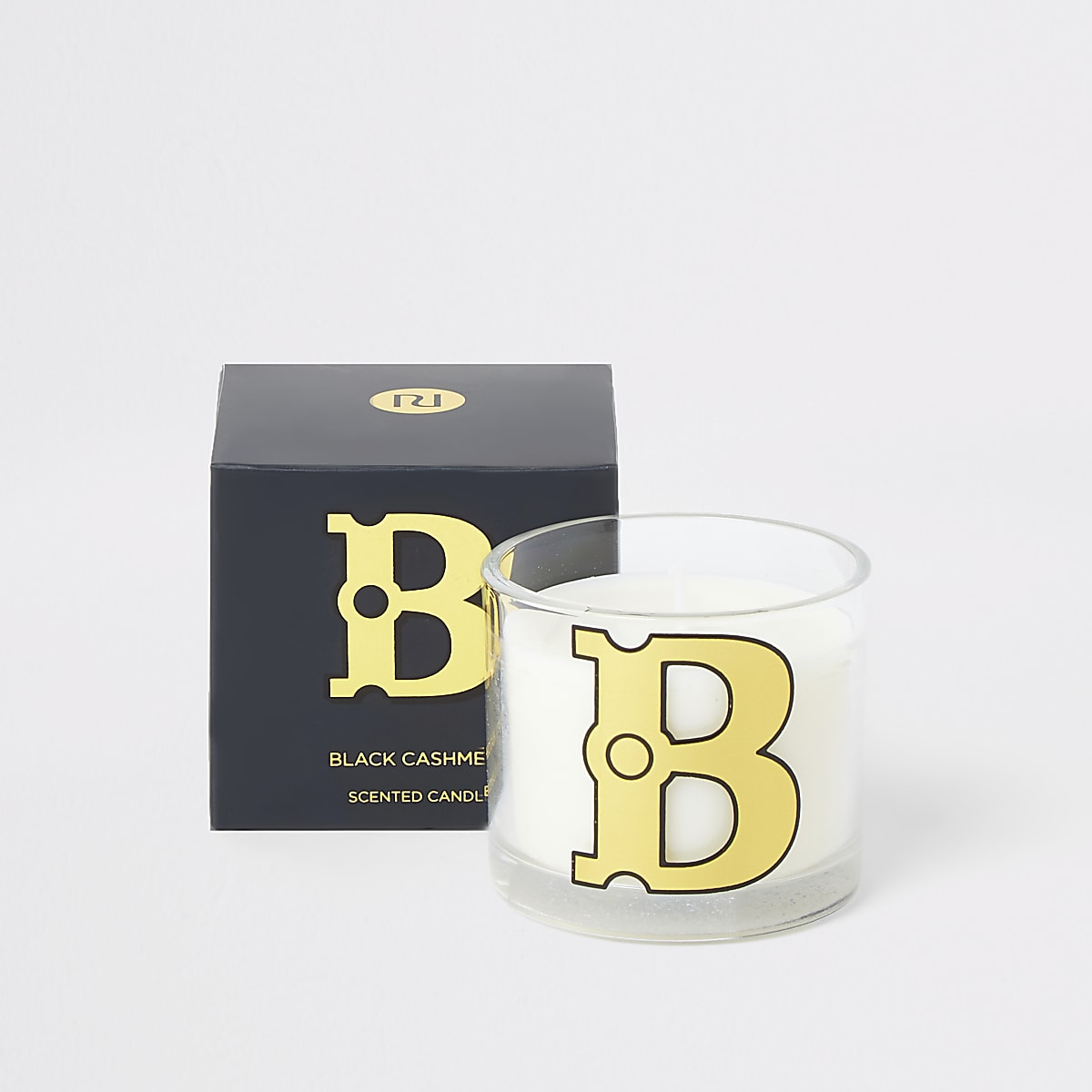 Navy 'B' alphabet black cashmere candle