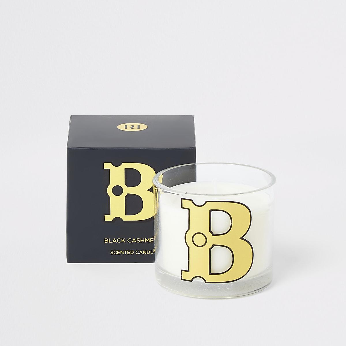 Navy 'B' alphabet black cashmere candle