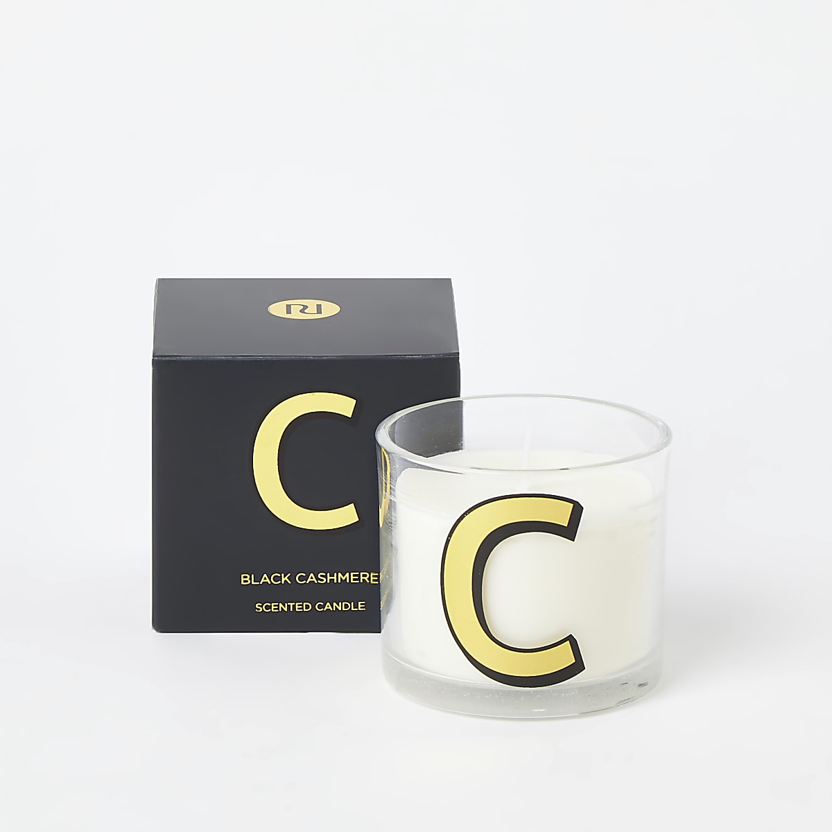 Navy 'C' alphabet black cashmere candle