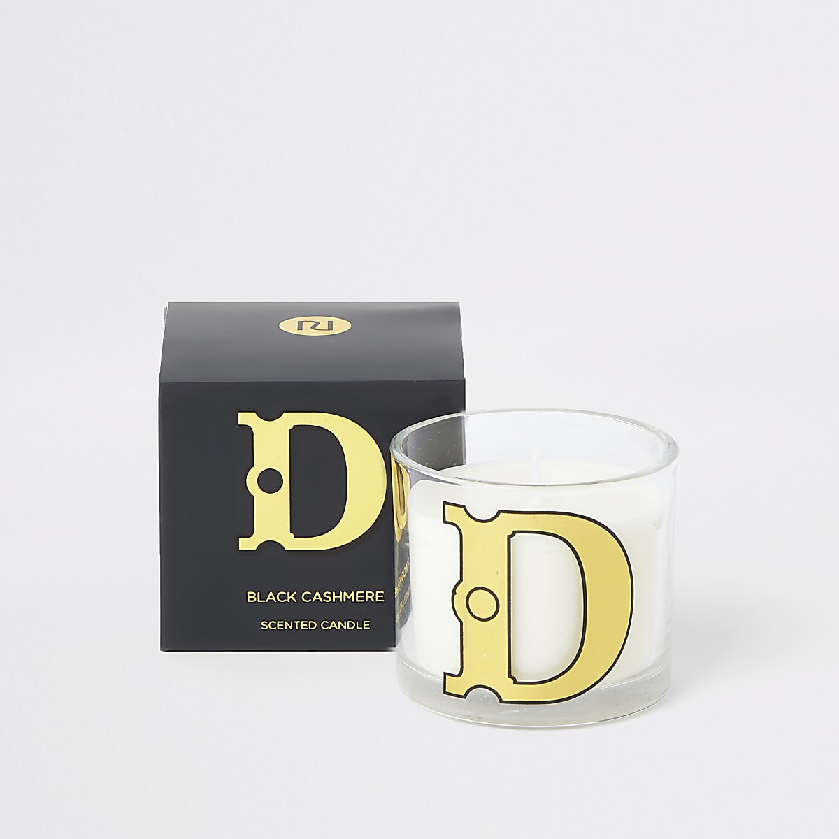 Navy 'D' alphabet black cashmere candle