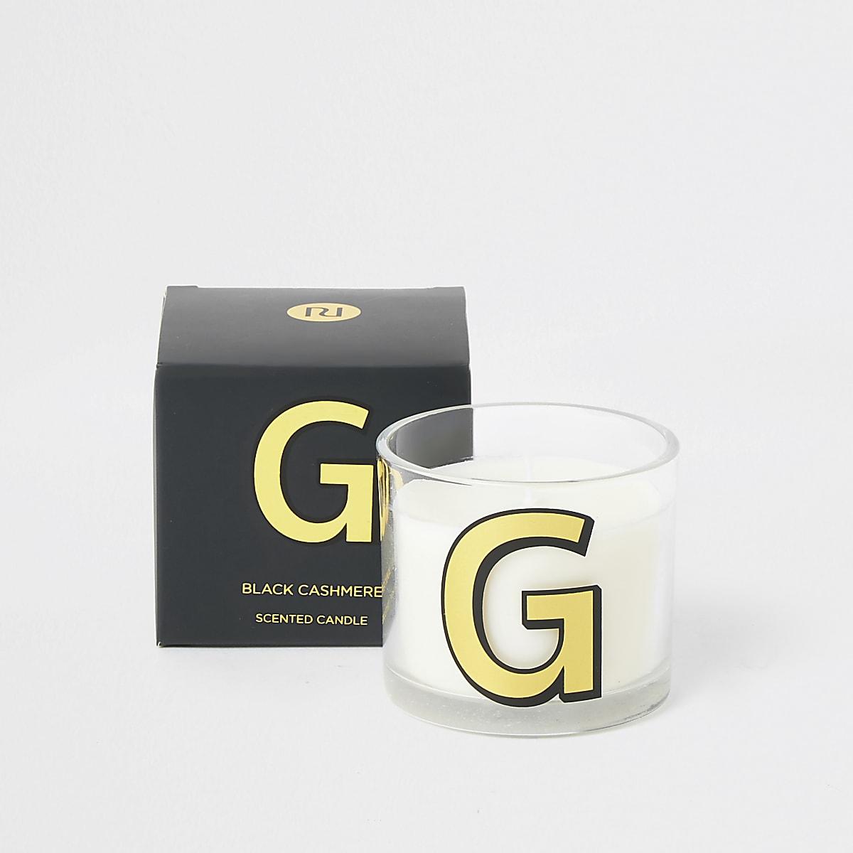 Navy 'G' alphabet black cashmere candle