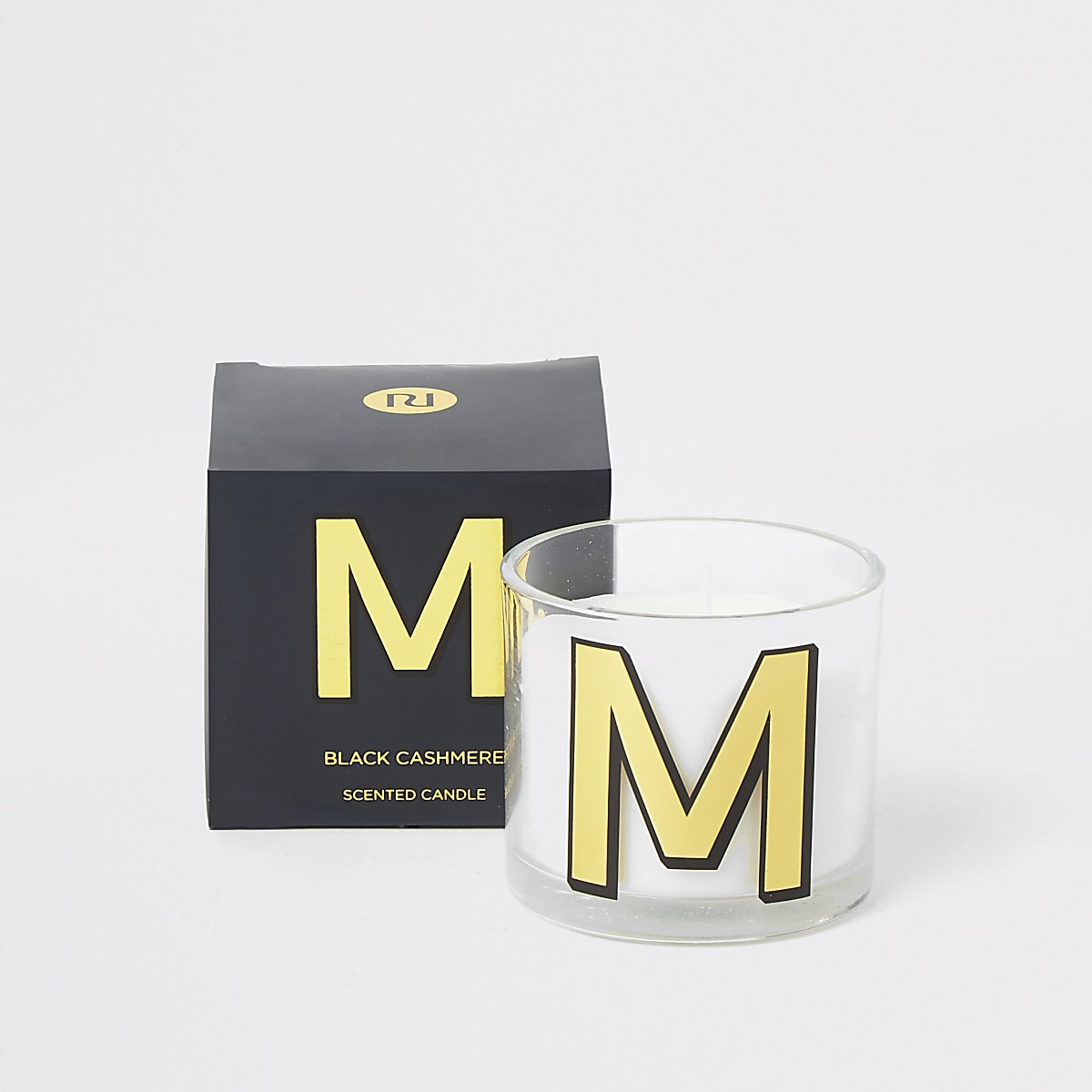 Navy 'M' alphabet black cashmere candle