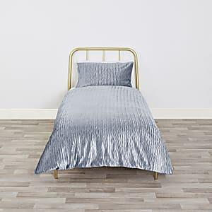 Parure de lit simple en velours bleu plissé