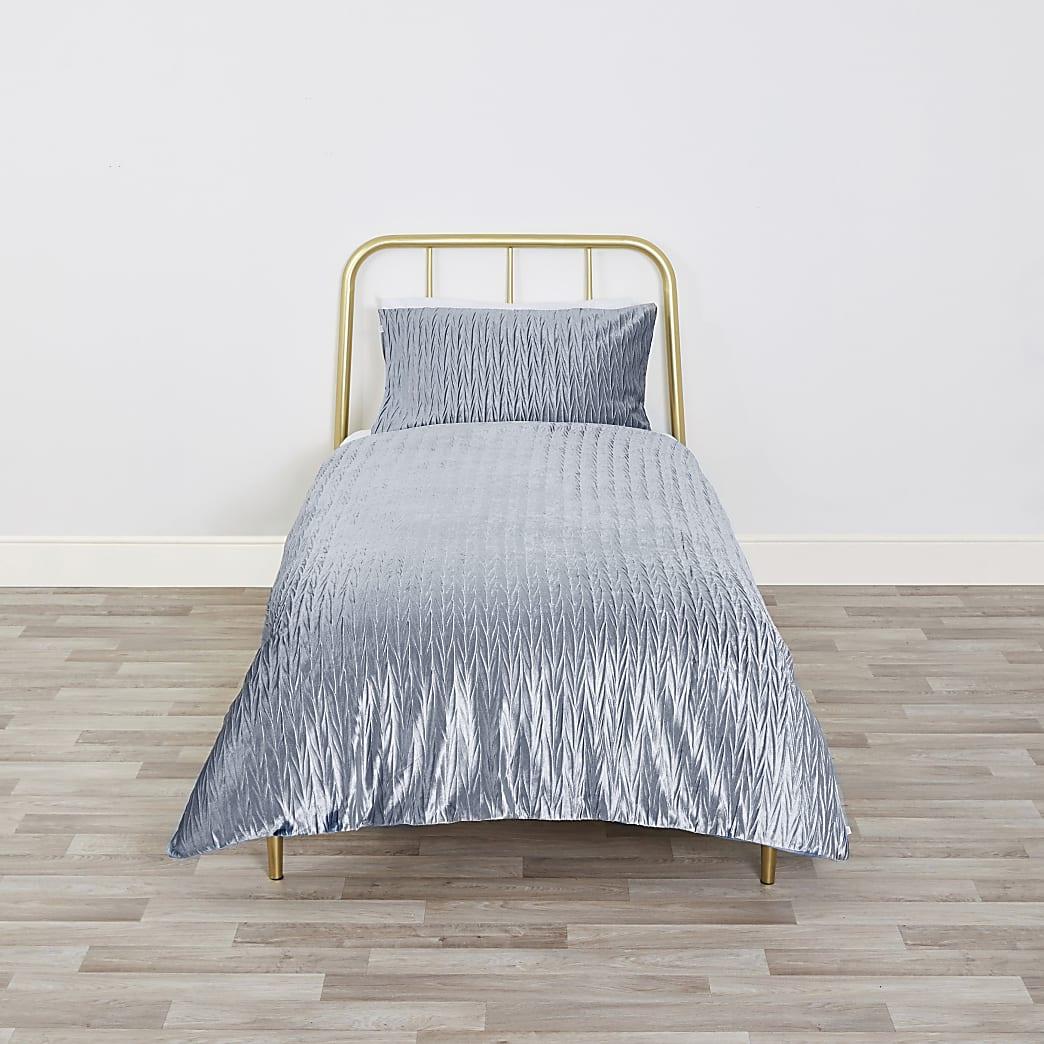 Blue velvet pleated single size duvet set
