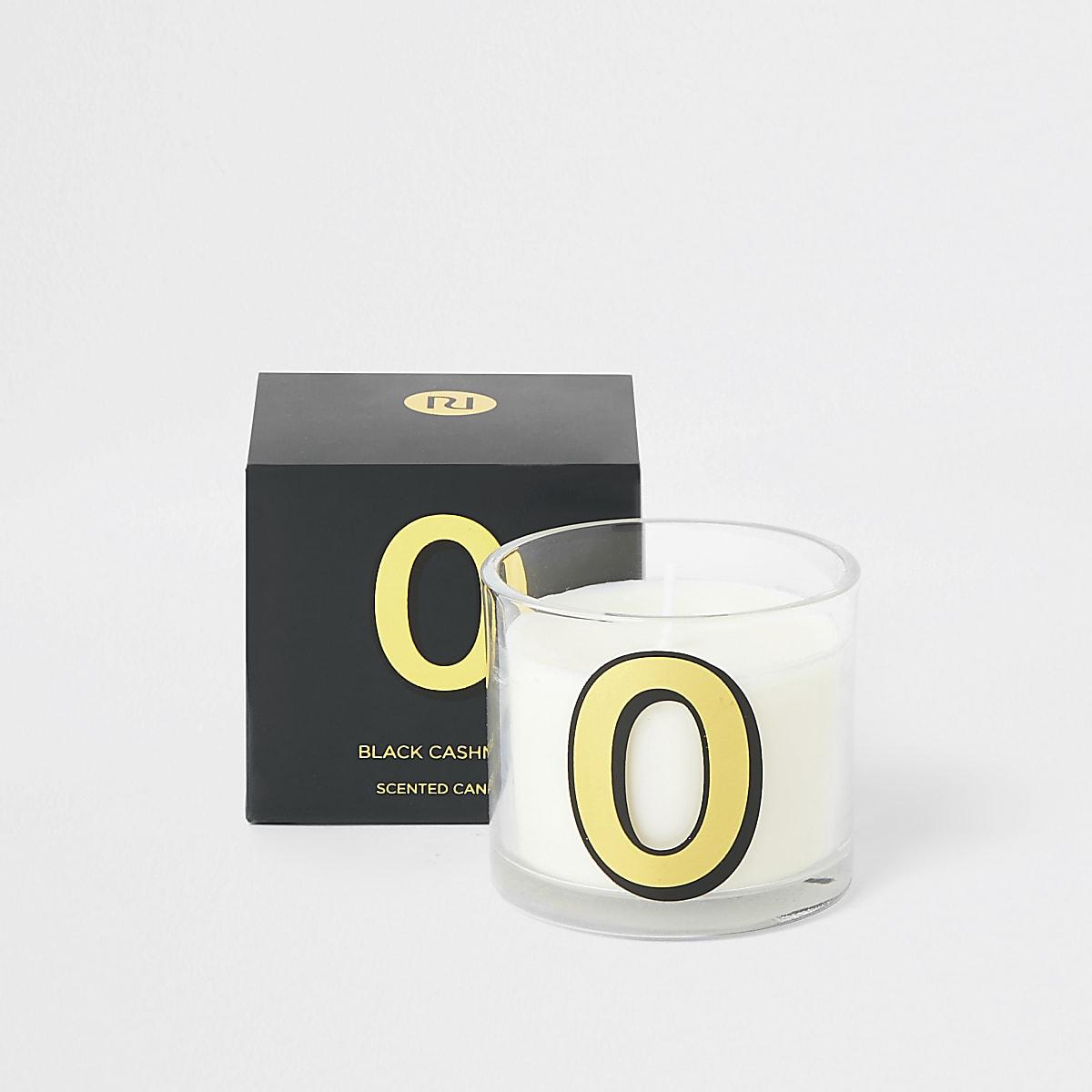 Navy 'O' alphabet black cashmere candle