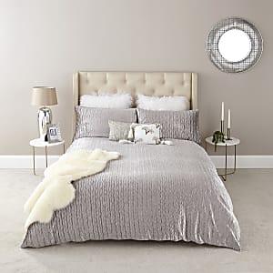 Plissee-Bettdeckenset für Doppelbett aus Samt in Ecru