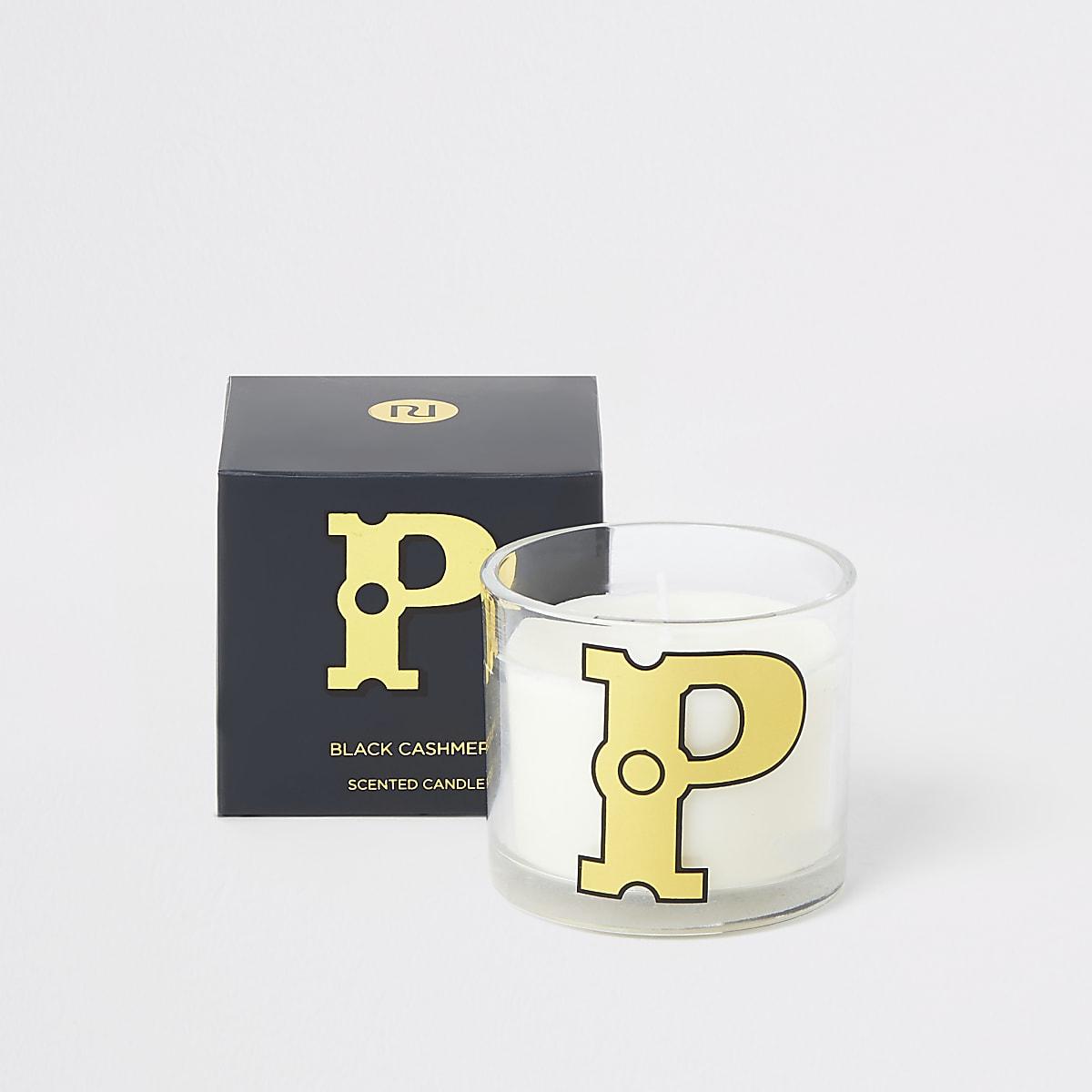 Navy 'P' alphabet black cashmere candle
