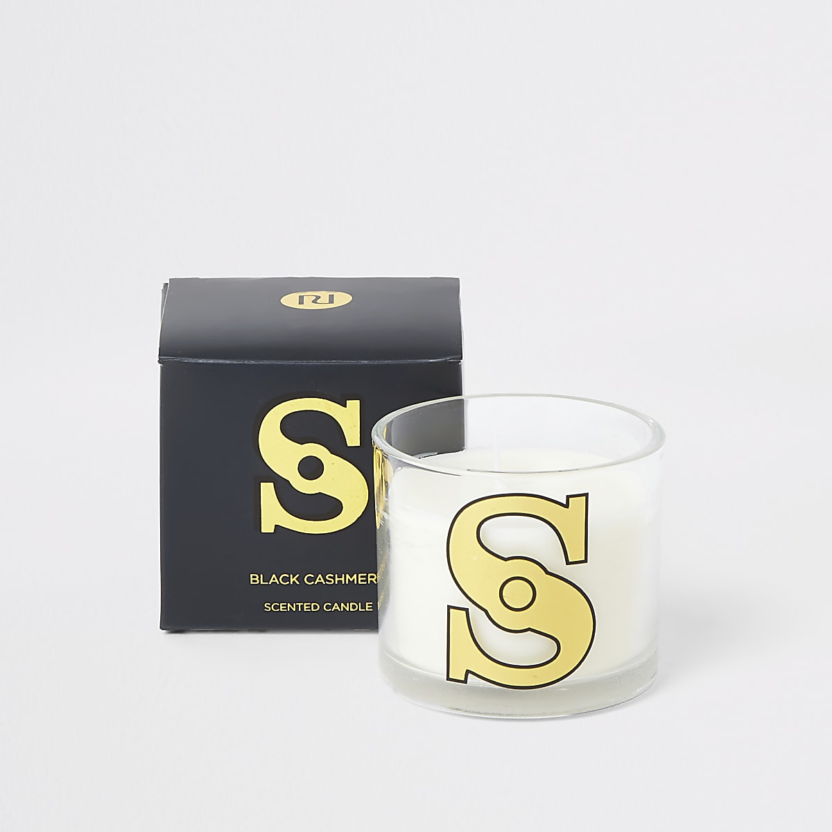 Navy 'S' alphabet black cashmere candle