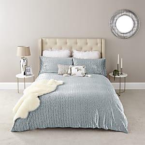 Blue velvet pleated double duvet bed set