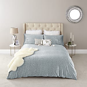 Blaues Plissee-Bettdeckenset für ein Doppelbett aus Samt