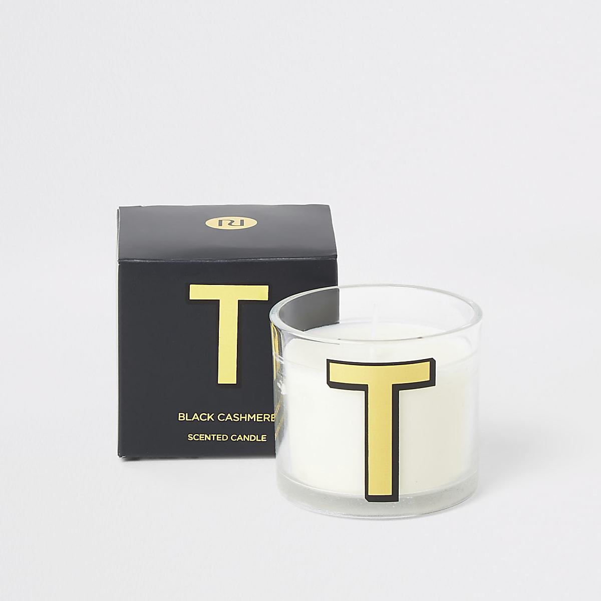 Navy 'T' alphabet black cashmere candle