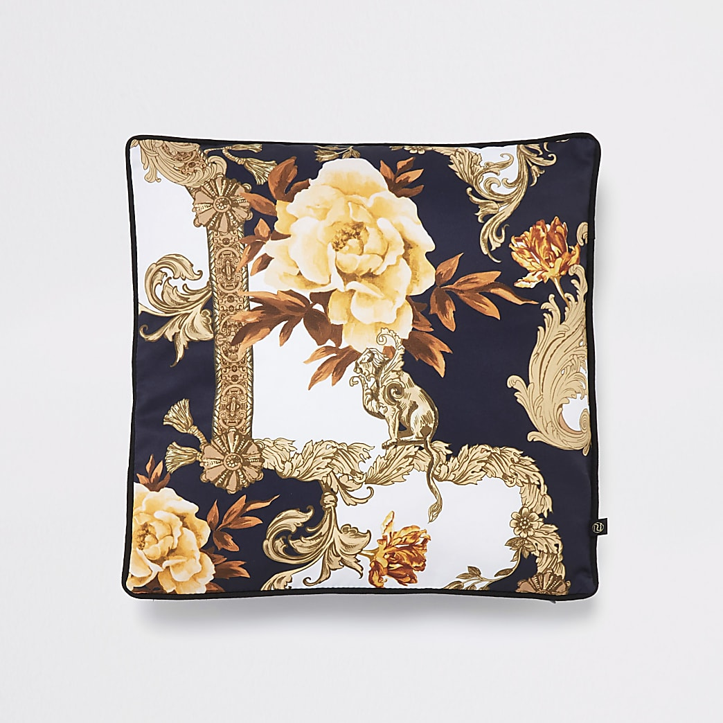 Blue floral baroque print cushion cover