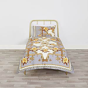 Grey floral baroque single duvet bed set