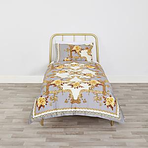 Parure de lit simple motif fleurs baroque grise