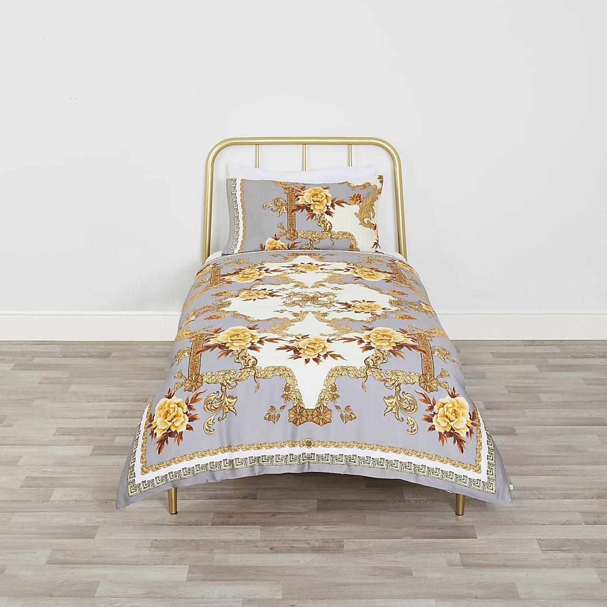 Grey floral baroque single duvet bed set