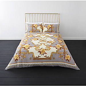 Grey floral baroque double duvet bed set