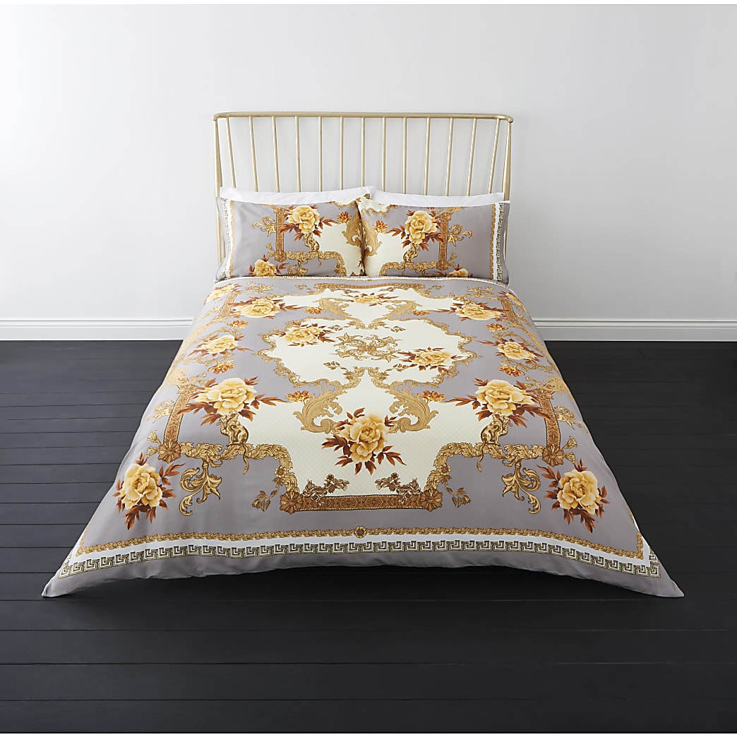 Grey floral baroque double duvet bed set
