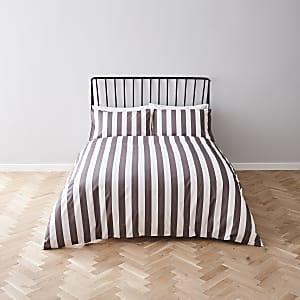 Parure de lit king rayée grise