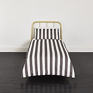 Parure de lit simple rayée grise