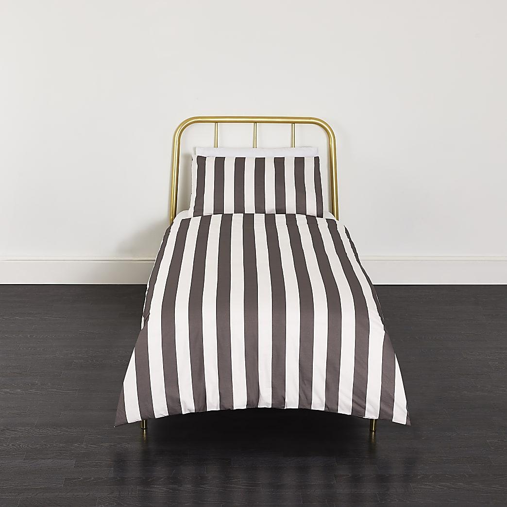 Grey stripe print single duvet bed set