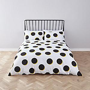Parure de lit super king size à pois noirs et jaunes