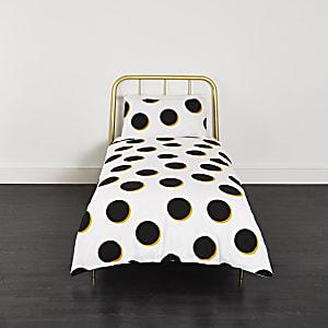 Parure de lit simple à pois noirs et jaunes