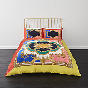 Bright pink ornate print king duvet bed set