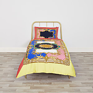 Bright pink ornate print single duvet bed set